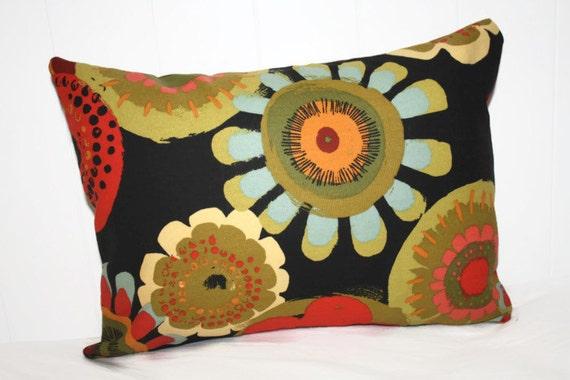 Decorative Pillow Cover 12x16 : Decorative lumbar pillow 12x16 Black Floral Pillow Cover