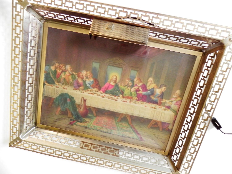Large Frame Last Supper Lit Wall Hanging Vintage Golden Metal