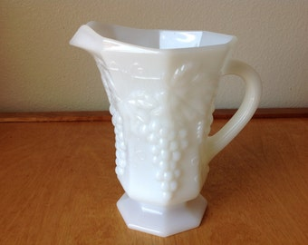 1950's Vintage Milk Glass Pitcher with Grape Pattern