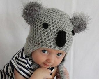 Koala Hat, Newborn Koala Hat, Newborn Boy Hat, Newborn Girl Hat, Kids Koala Hat, Toddler Koala Hat, Newborn Photo Prop, Adult, Crochet