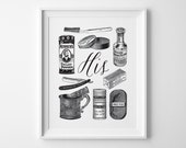 Gift for Groom, His and Hers, Boyfriend Gift for Men Husband Gift, Black and White Bathroom Wall Art, His Vintage Toiletries Wedding Gift