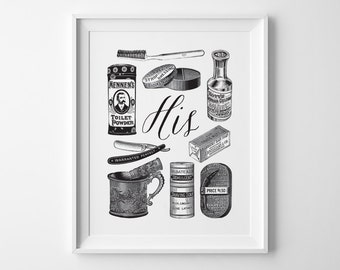 Valentines Day Gift for Him, His Vintage Toiletries Wedding Gift, Husband Gift for Groom, His and Hers, Black and White Bathroom Wall Art