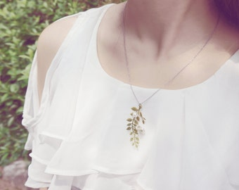 leaf prearl necklace, vintage style, flower accessories, hand-made, green