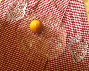 vintage pressed glass set L. E. Smith divided serving plate with veggies design plus two cut glass dishes with grape motif