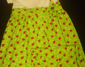 Girl's Ladybug T-Shirt Dress With Matching Bloomers- size 4T