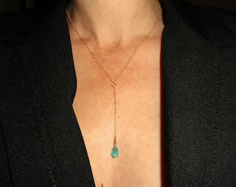 Gold lariat necklace, 14k gold filled lariat turquoise crystal necklace, Crystal lariat necklace Delicate Gold necklace, Gold necklace Gift