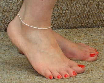 Silver anklet, Silver rope anklet, Silver ankle bracelet, Minimalist jewelry, Minimalist anklet, Ankle bracelet UK