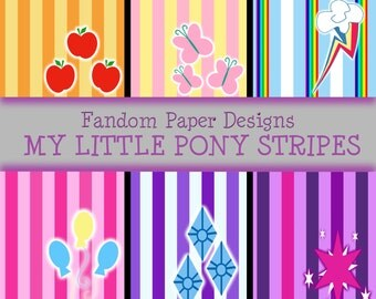 My Little Pony Stripes - Digital Scrapbook Paper - Six Sheets
