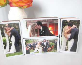 Custom Handmade Wedding Photo Wood Blocks perfect for home, personal wedding or engagement gift, Set of 3