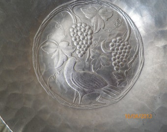Antique Pewter Dish, hand forged by Everlast Metal.