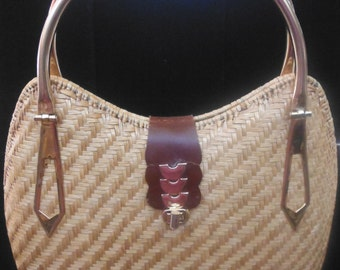 Retro Woven Grass Bag, Vintage 1970's