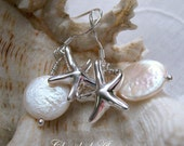 Beach Wedding Inspired - Beautiful Freshwater Coin Pearl & Sterling Siver Starfish Earrings - Bridal Wedding Jewellery