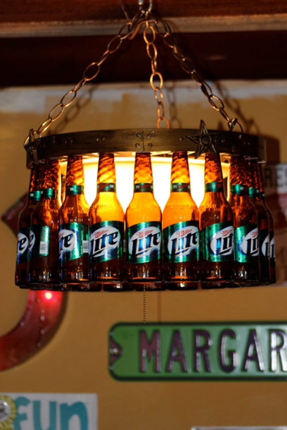 Beer Bottle Chandelier With Dimmer Cover And Stars