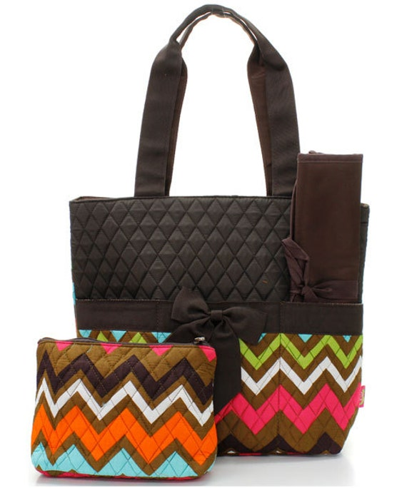 machine embroidered quilted diaper bag multicolor chevron. Black Bedroom Furniture Sets. Home Design Ideas