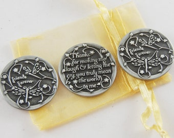Set of 3 Friends Forever Pocket Tokens with Organza Bag