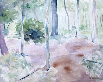 Forest Floor orginal watercolor painting 16 x 12