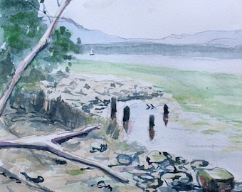 Boat off Dennings Point orginal watercolor painting 6 x 9