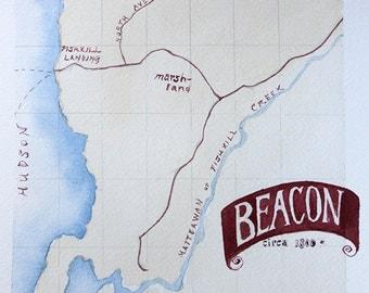 1800 Beacon, NY map orginal watercolor painting 6 x 6