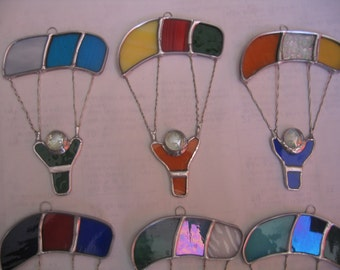 """Colorful sky divers in bright colors. 4"""" X 7"""" Let me customize your chute colors!"""