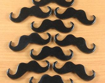 Wholesale lot 10pcs Black Mustaches Resin Cabochon Flatbacks Flat Back Bow Center Crafts Cell Phone Csee Decor DIY