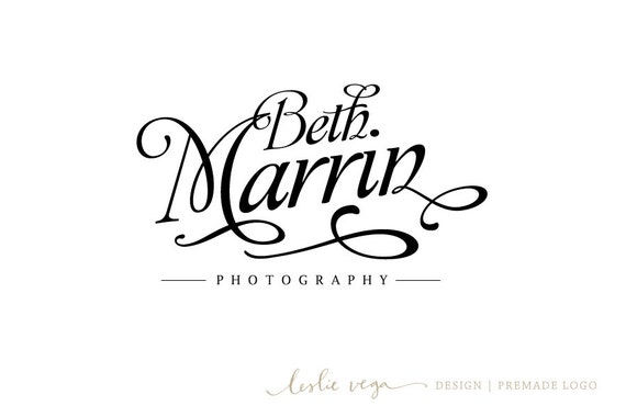 Items similar to premade photography logo black
