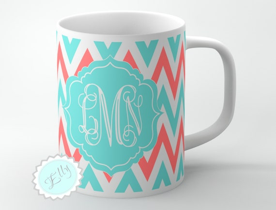 Customized elegant Coral and Tiffany blue chevron monogrammed coffee mug