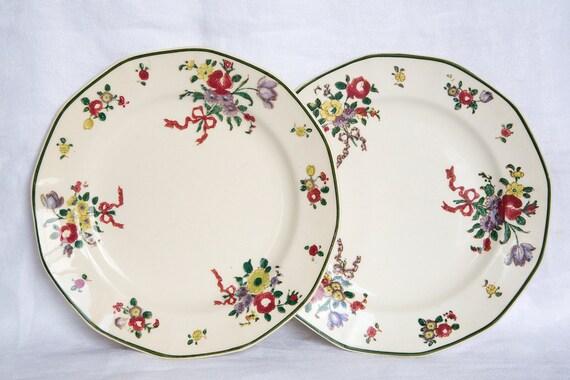 Two Royal Doulton Old Leeds Sprays Tea Plates