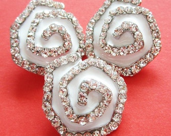 Lot 3 rhinestone buttons - white enameled rhinestone crystal buttons - silver metal shank buttons lot -  large rhinestone buttons lot - 22mm