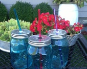 "Blue Mason Jar Tumbler on the Go Guzzler  (32oz) 10.5"" BPA Free Reusable Straw Included"