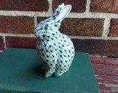 Vintage  Handpainted Ceramic Bunny Figurine - Green Fishnet - Herend Style