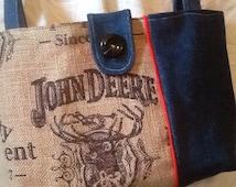 Look----John Deere Burlap and Denim Shoulder Purse