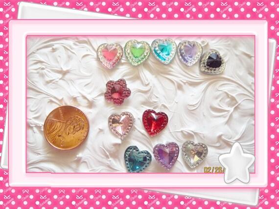 0: )- CABOCHON -( Rhinestone Gem Blue Heart or Pink Flower