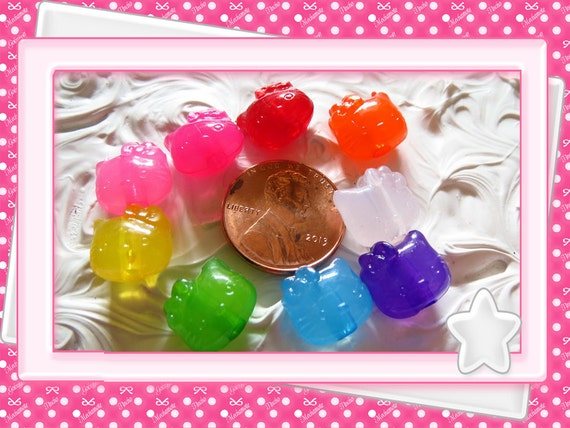 0: )- CABOCHON -( Rainbow Hellow Kitty Cat Face Beads Clear