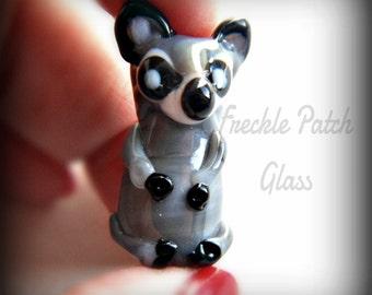 Lampwork Glass Raccoon Animal Bead, Totem, Pendant, Sculpture