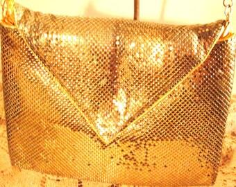 Whiting & Davis Gold Flat Shoulder Bag