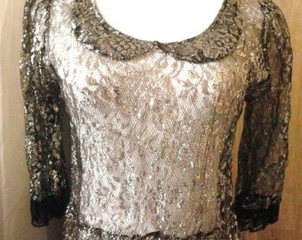 Vintage Sheer Black & Gold Metallic Lace Dress