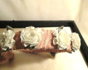Vintage peachy pink lace and white silk flower headband