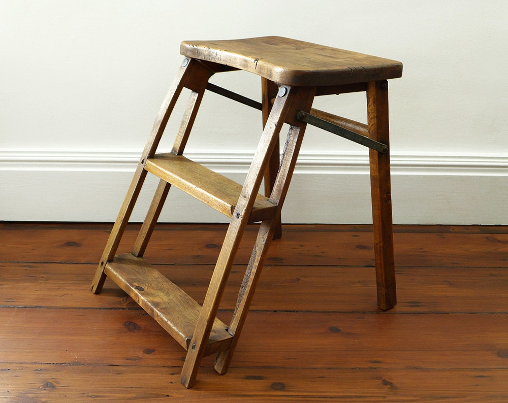 Antique Wooden Step Ladder Stool