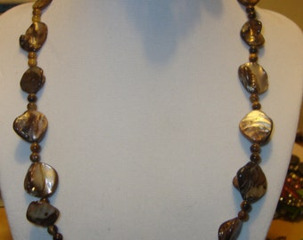 Brown Beaded Necklace and Bracelet