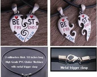 New Split Heart Best Friends Necklace - 2 piece Necklace BFF Split Heart - Classic Design - Free Shipping