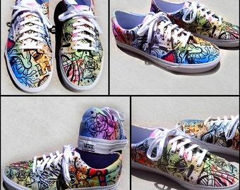 Battery Acid Hand Painted Vans Era Shoes