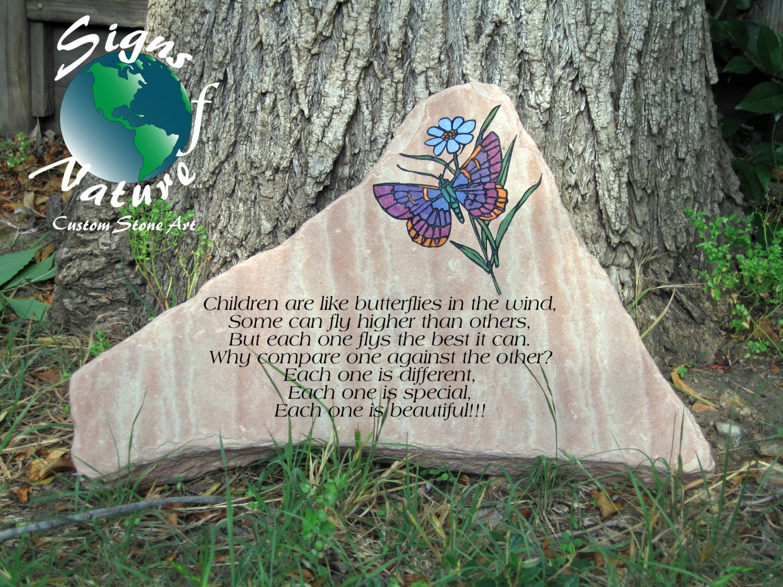 Garden Stone 17in 23in Custom Hand Engraved Garden Stone To