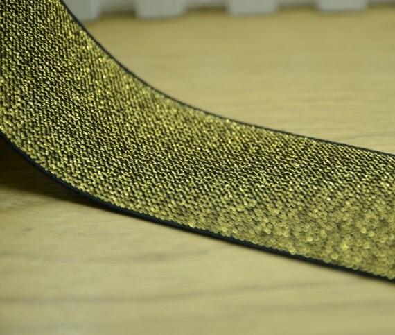 wide glitter elastic elastic bandelastic belt gold