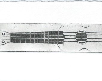 Black ukulele print - etching