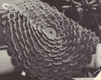 INSTANT DOWNLOAD PDF Vintage Crochet Pattern Rose Pedal Potholder, 1945 Design