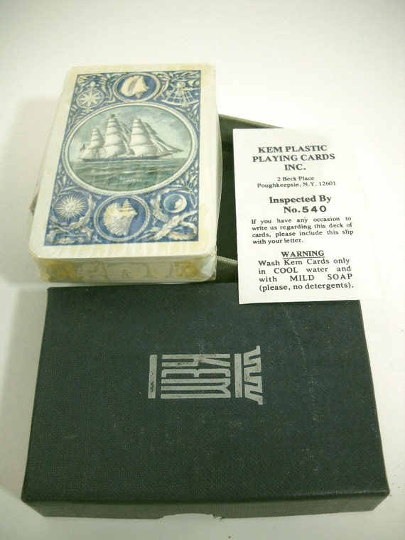 Vintage KEM Playing Cards Plastic Cards Nautical Theme Original Plastic in Box