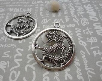 50pcs Antique Silver Base Metal Charms-Dragon charms pendant 32mm--Suitable for necklaces and bracelets--CP70