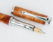 Exotic Maple Burl and Bloodwood Segmented Fountain Pen