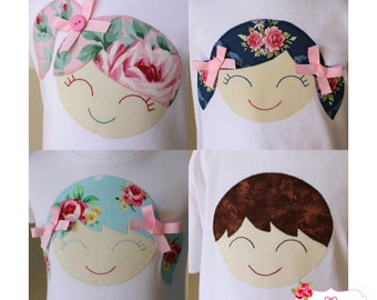 Doll Face PDF Applique Template - Girl, Boy, Smiling Face