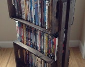 SALE Rustic Wooden Crate 3 Shelf Bookcase Shelving Floor Stand - Wood Shelves for Books, DVDs, Storage, Bathroom, Night Stand